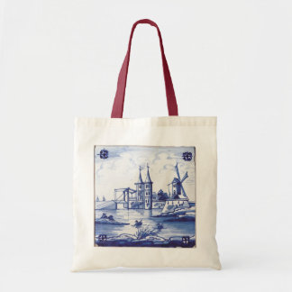 Dutch traditional blue tile tote bag