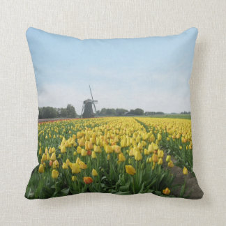 Dutch Tulips and Windmill Holland Pillow