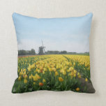 Dutch Tulips and Windmill Holland Throw Pillow