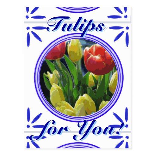 Dutch Tulips Traditional Delft Blue Tile Postcard