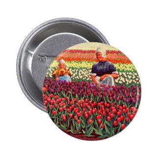 Dutch Tulips Tulpe Retro Vintage Kitsch Amsterdam Pinback Button
