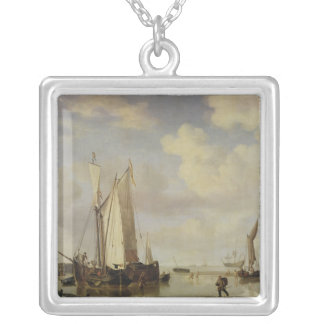 Dutch Vessels Inshore and Men Bathing, 1661 Square Pendant Necklace