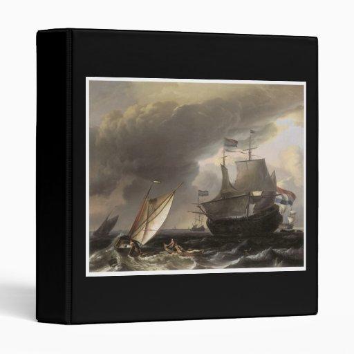 Dutch Vessels on a Stormy Sea c. 1690 3 Ring Binder