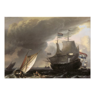 Dutch Vessels on a Stormy Sea c 1690 Personalized Invitations