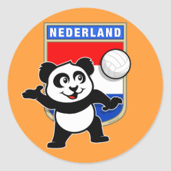 Round Sticker with Dutch Volleyball Panda design