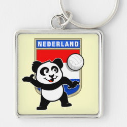 Premium Square Keychain with Dutch Volleyball Panda design