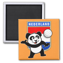 Square Magnet with Dutch Volleyball Panda design
