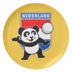 Plate with Dutch Volleyball Panda design