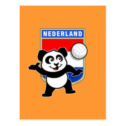 Postcard with Dutch Volleyball Panda design