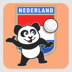 Square Sticker with Dutch Volleyball Panda design