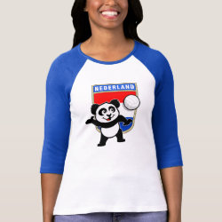 Ladies Raglan Fitted T-Shirt with Dutch Volleyball Panda design