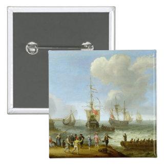 Dutch Warships in an Estuary Pin