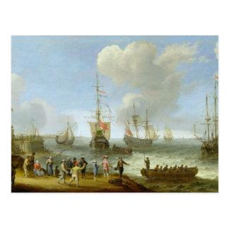 Dutch Warships in an Estuary Postcard