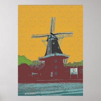 Dutch Wind Mill Van Gogh Style print