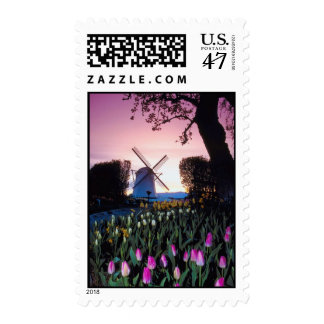 Dutch Windmill at Sunset in Holland Stamps