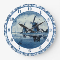Dutch Windmill Delft Colors Blue and White Large Clock