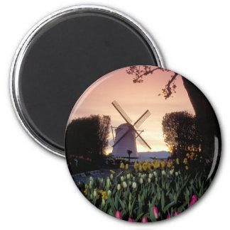 Dutch windmill & flowerbeds 2 inch round magnet
