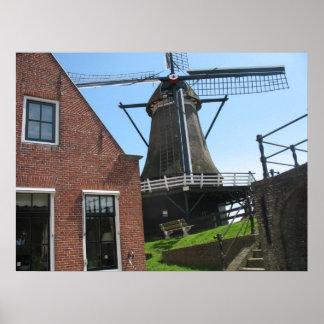 Dutch Windmill, Friesland, Holland Photo Poster