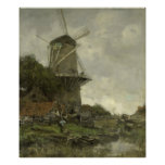 Dutch windmill, Jacob Maris Poster