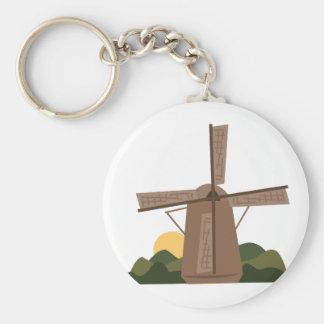 Dutch Windmill Basic Round Button Keychain