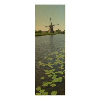 Dutch Windmill Lilypads Canal Photo Bookmark Cards Mini Business Card