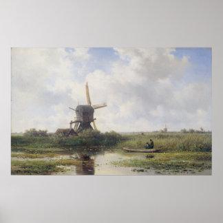 Dutch windmill near Gein river , Willem Roelofs Poster