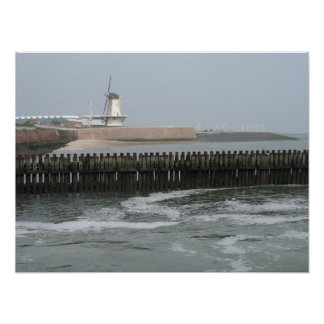 Dutch Windmill on Dike at Sea Photo Poster Art