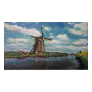 Dutch Windmill Painting Small Photo Card Business Card