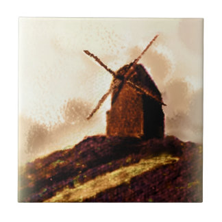 Dutch Windmill Sepia Painting Small Square Tile