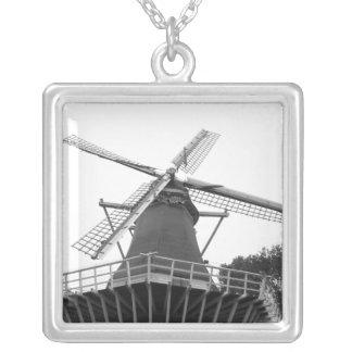 Dutch Windmill Square Pendant Necklace