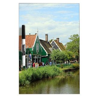 Dutch windmill village dry erase board