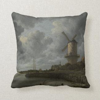 Dutch windmill Wijk bij Duustede, Ruisdael Throw Pillow