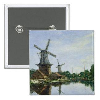 Dutch Windmills, 1884 Pinback Button