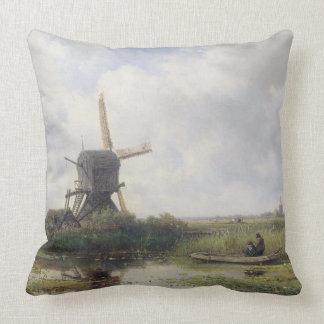 Dutch windmills near Gein river , Willem Roelofs Throw Pillow