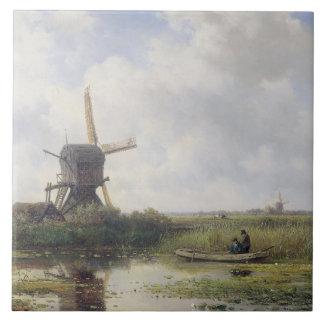 Dutch windmills near Gein river , Willem Roelofs Large Square Tile