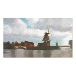 Dutch Windmills Painting Art Business Card