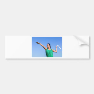 Dutch woman throwing boomerang in blue sky bumper sticker