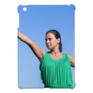 Dutch woman throwing boomerang in blue sky iPad mini cover