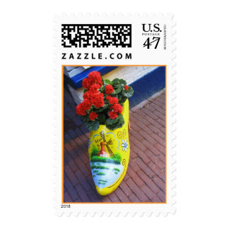 Dutch Wooden Shoe Clog with Flowers Post Stamps