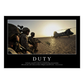 Duty: Inspirational Quote 1 Poster