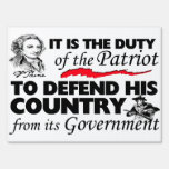 Duty of the Patriot Sign