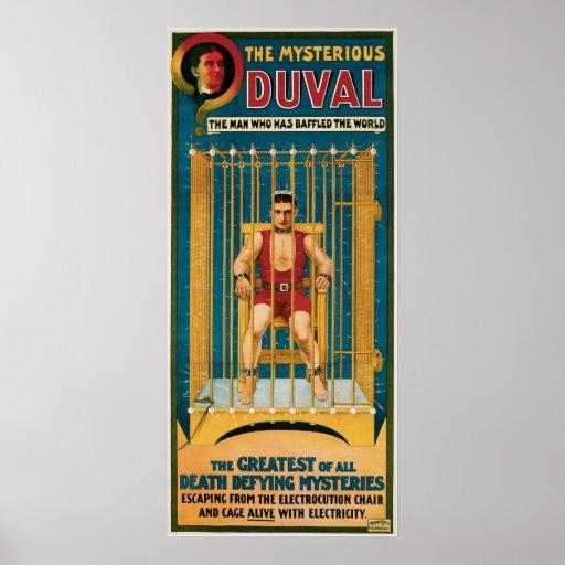 Duval el ilusionista de desafío de la muerte miste póster