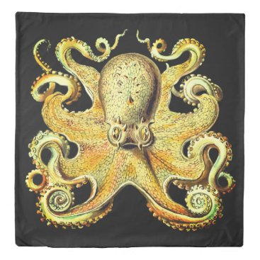Beach Themed Duvet cover  Nautical sea Octopus decor gold
