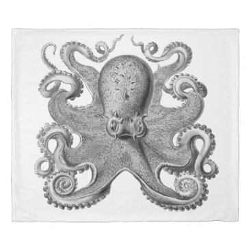 Beach Themed Duvet cover  Nautical sea Octopus decor grey king