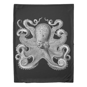 Beach Themed Duvet cover  Nautical sea Octopus decor grey twin
