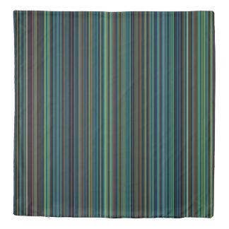 Duvet cover retro aqua purple blue stripe