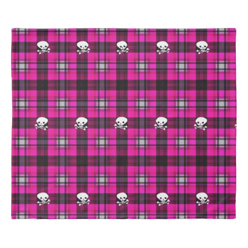 Duvet Cover Trendy Pink Black White Plaid Skull Zazzle