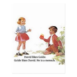 Duvid likes Golde. Postcard