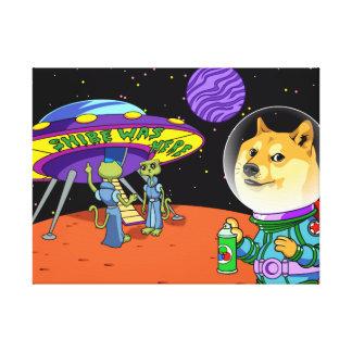 Dux Astro de Shibe y el dibujo animado de los Lona Envuelta Para Galerias