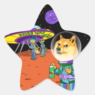 Dux Astro de Shibe y el dibujo animado de los Pegatina En Forma De Estrella